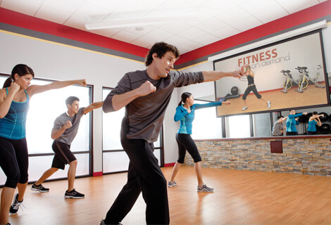 Group exercising with Fitness on Demand